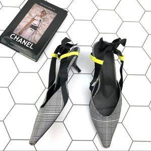 Zara Gray Plaid Slingback Kitten Bow Back Heels